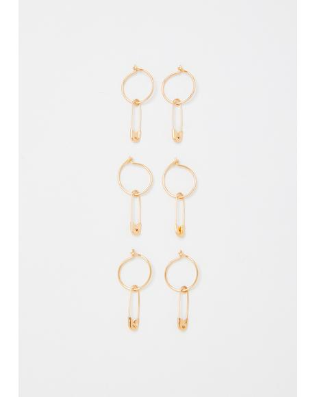Gilded Piercing Thoughts Safety Pin Hoop Set