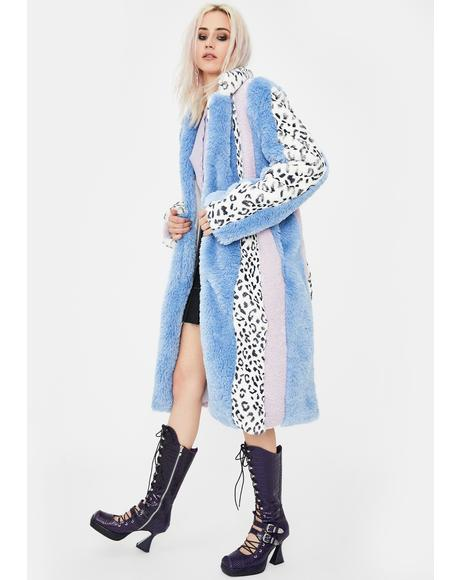 Leopard Faux Fur Patchwork Long Coat