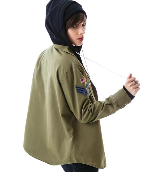 JET by John Eshaya Army Shirt Zip Up Hoodie