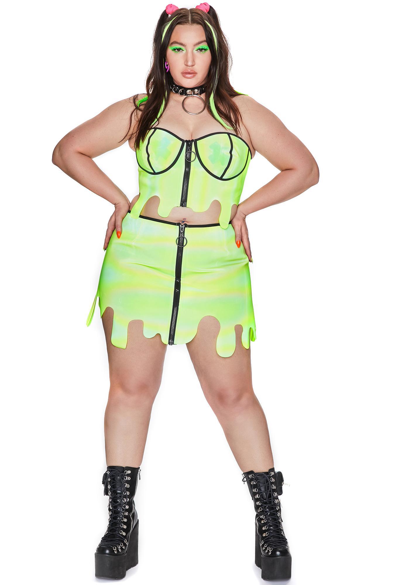 Club Exx Toxic Slime Zone Reflective Skirt