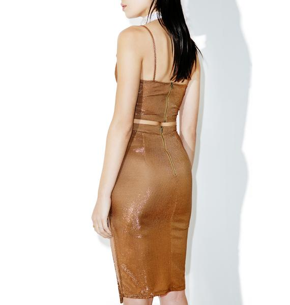Brown Suga Sparkle Midi Skirt