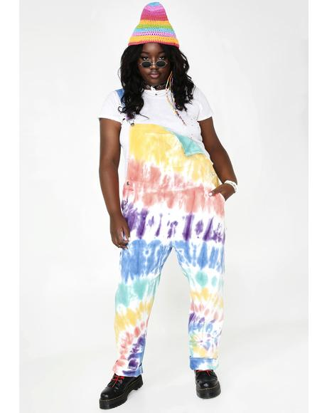 Hippie Trippy Delight Tie Dye Overalls