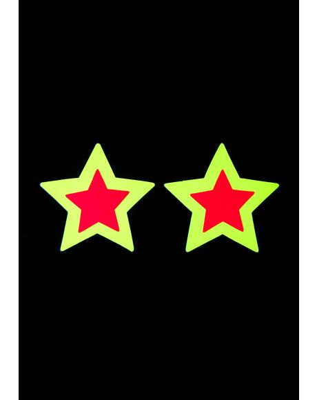 Neon Black Light Star Pasties