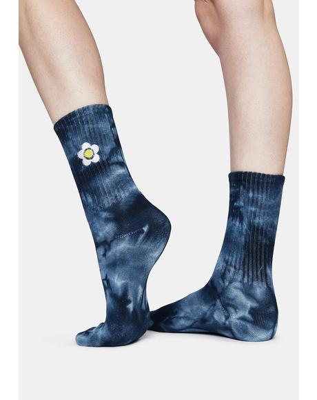 Blue Daisy Tie Dye Embroidered Crew Socks