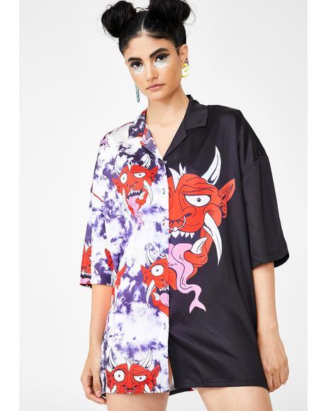 Half & Half Devil Print Oversized Shirt