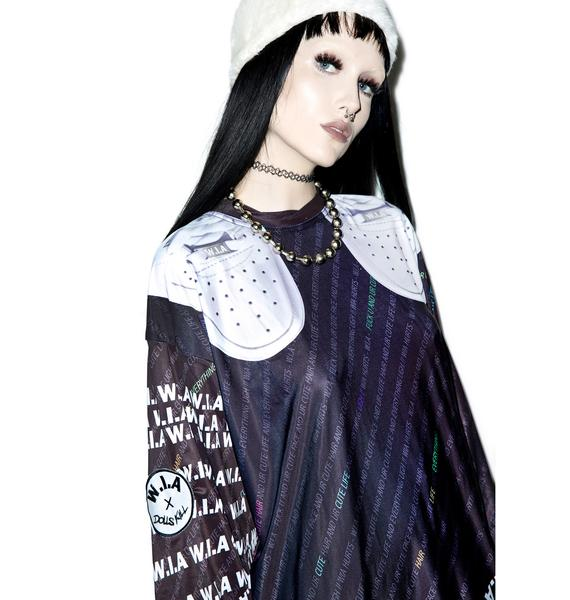 W.I.A X Dolls Kill Black W.I.A Extra Long T-Shirt