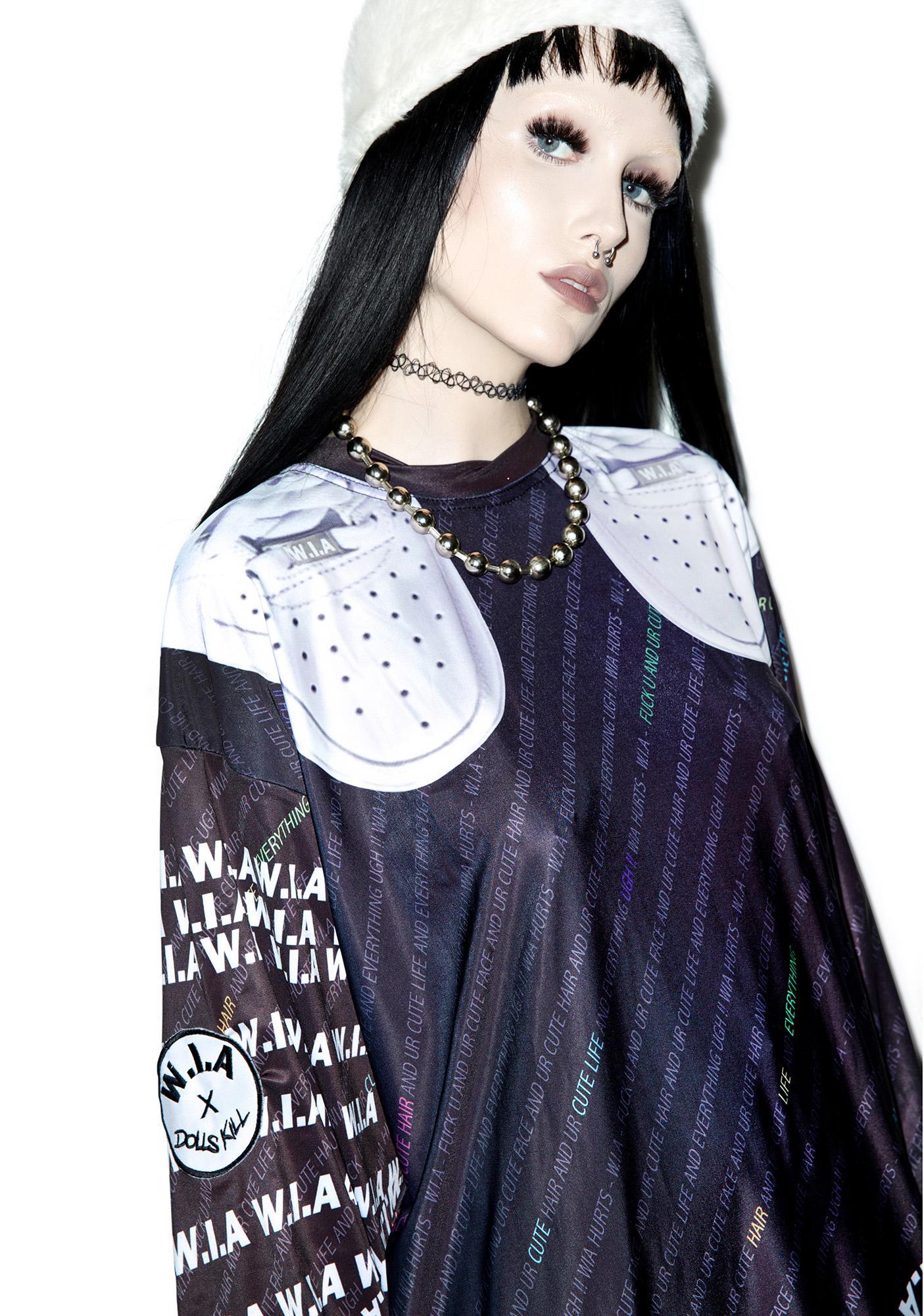 W.I.A X Dolls Kill Black W.I.A Extra Long T-Shirt