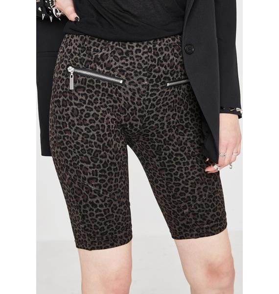 Blank NYC Leopard Biker Shorts