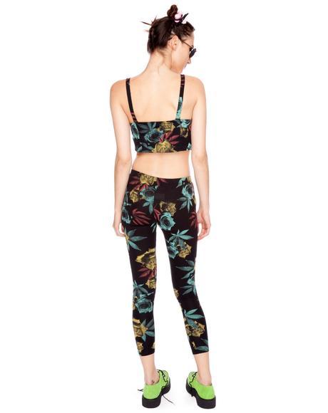 Weed & Rose Print Leggings