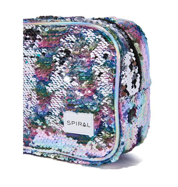 Spiral UK Rainbow Sequins Portland Cosmetic Bag