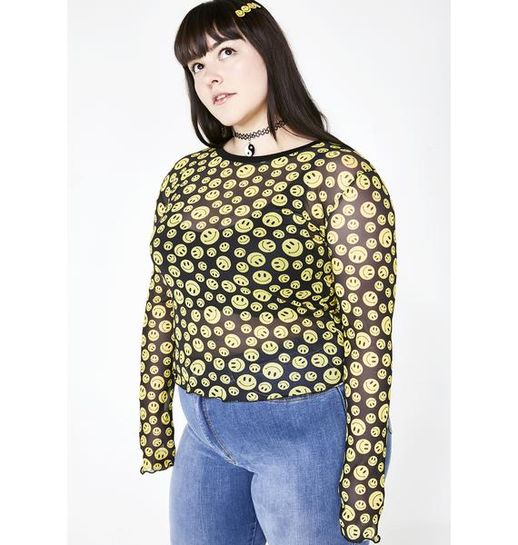 dELiA*s by Dolls Kill Totally Happy Hour Mesh Top