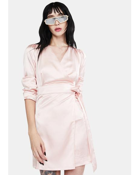 Pale Pink Satin Wrap Dress