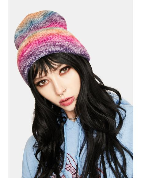 Turning Back Time Rainbow Knitted Beanie