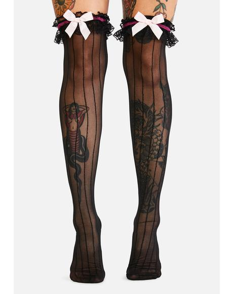 High Tea Thigh High Socks