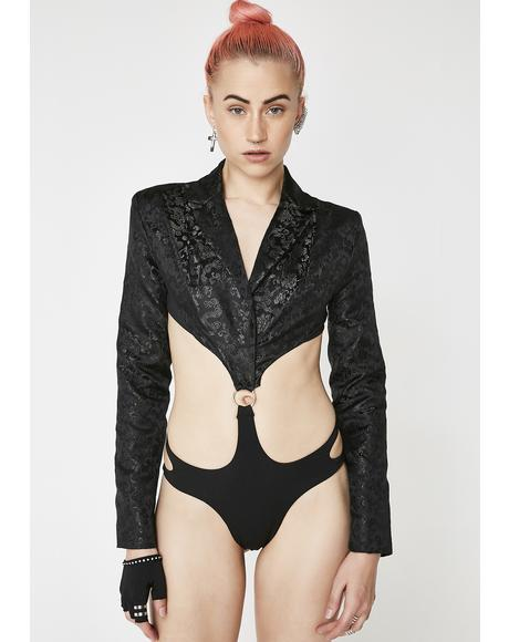 Black Dragon Brocade GoGo Suit