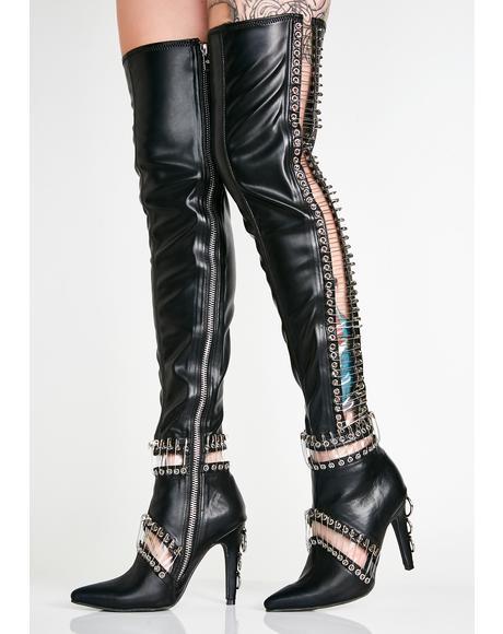 Queen Pin Thigh High Boots