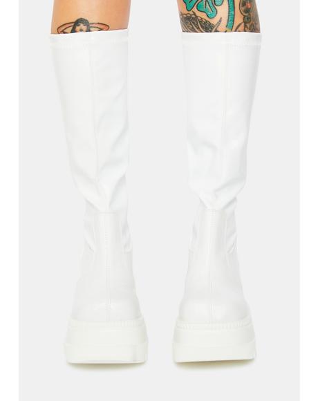 White Shook Up Platform Boots