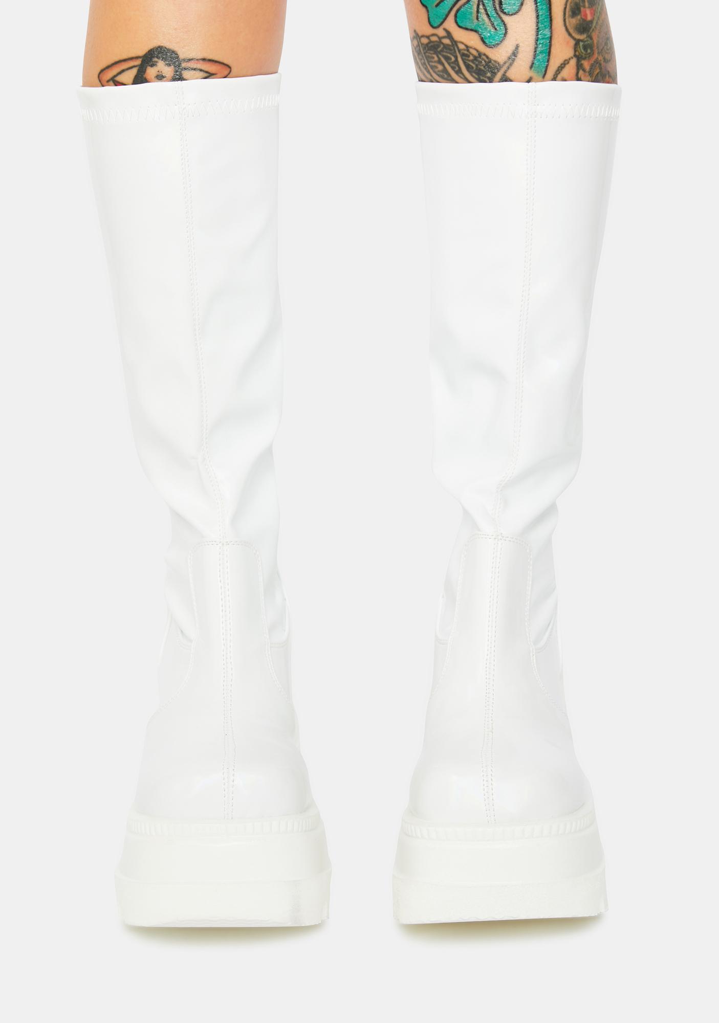 Demonia White Shook Up Platform Boots