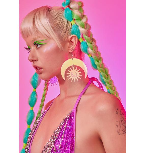 Rolita Rave Couture Sun & Moon Iridescent Earrings