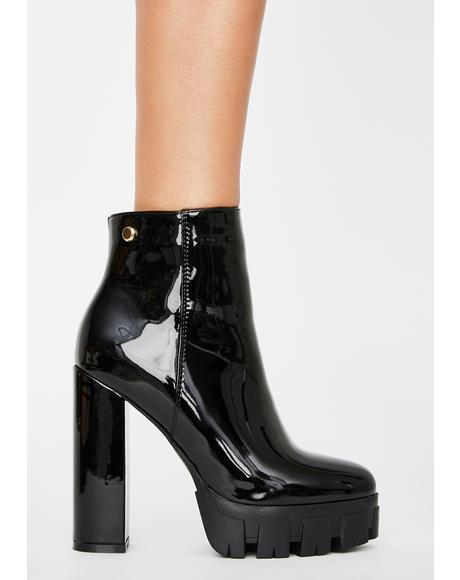 Black Patent Quake Heeled Boots