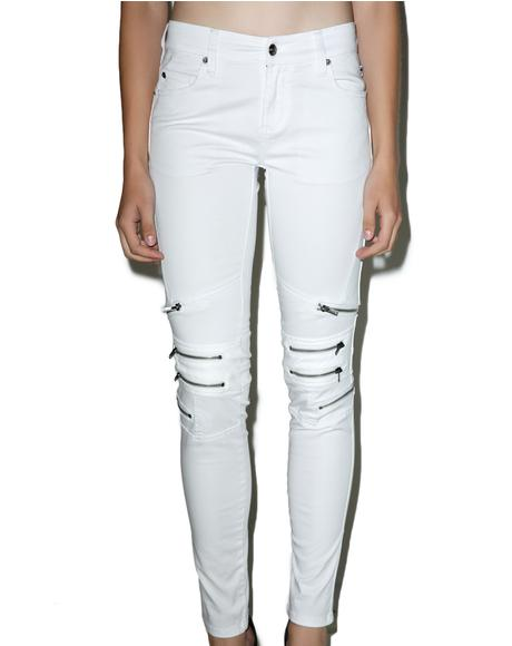 Knee Zipper Jeans