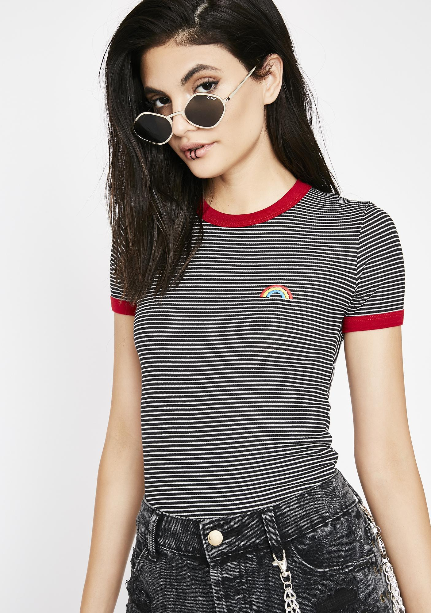 Rock N Rainbows Ringer Tee