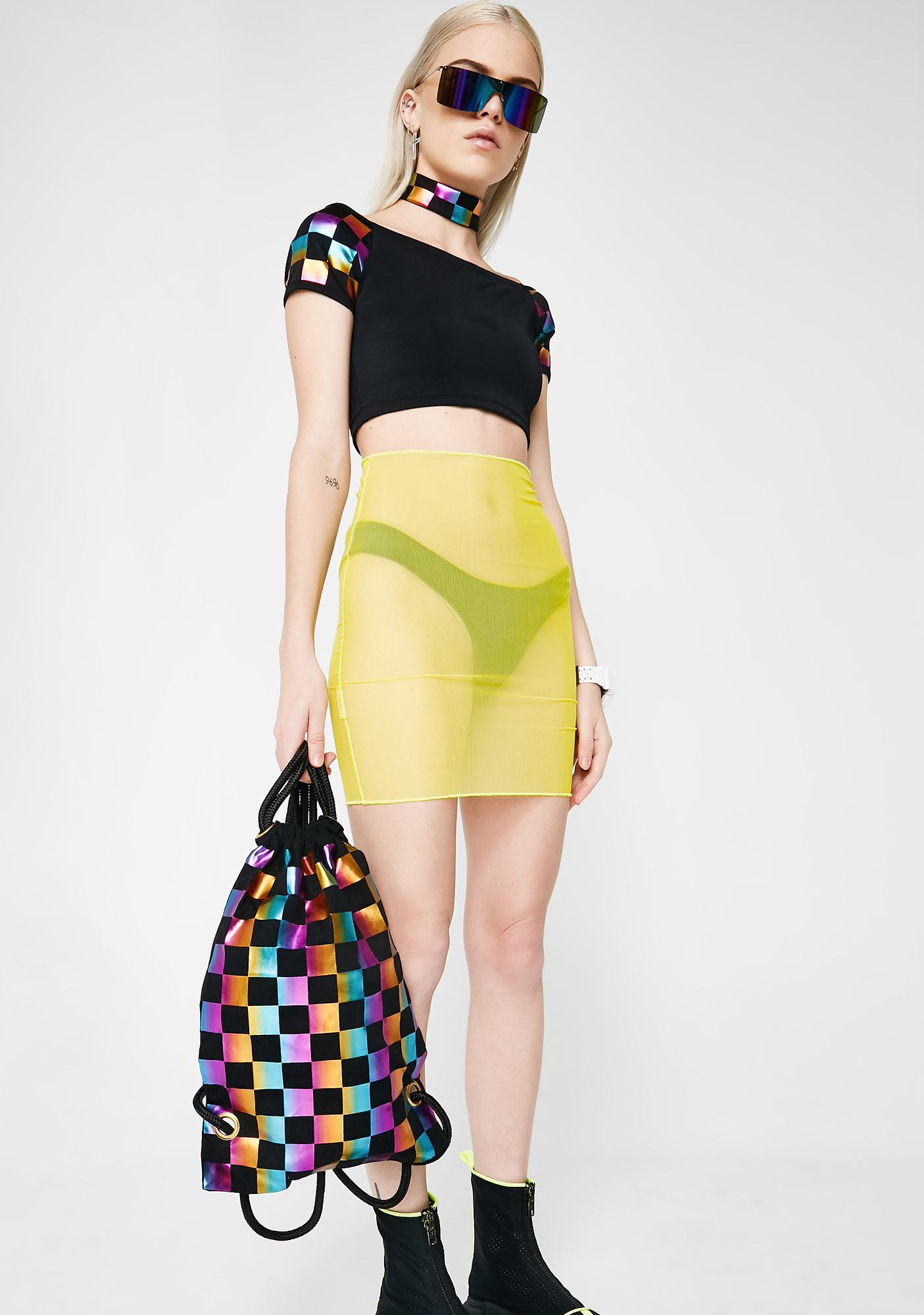 Rainbow Rides Drawstring Bag