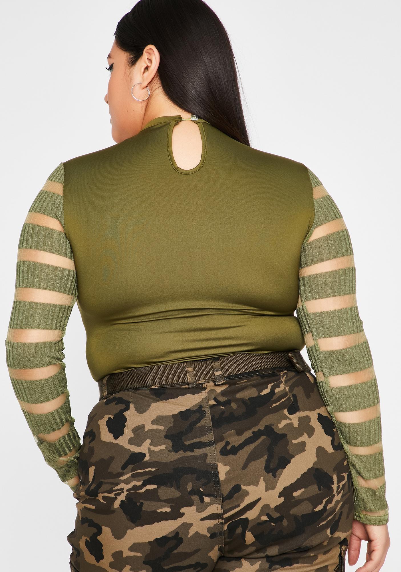 Olive In Your Dreamz Sheer Bodysuit