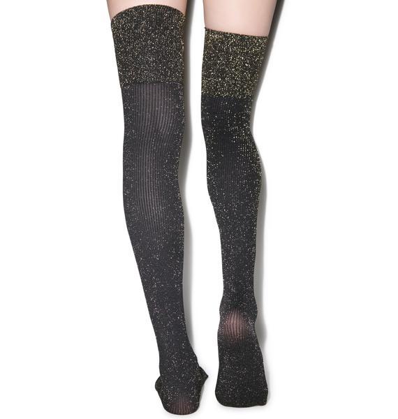 Pretty Polly Sparkle Rib Over the Knee Socks