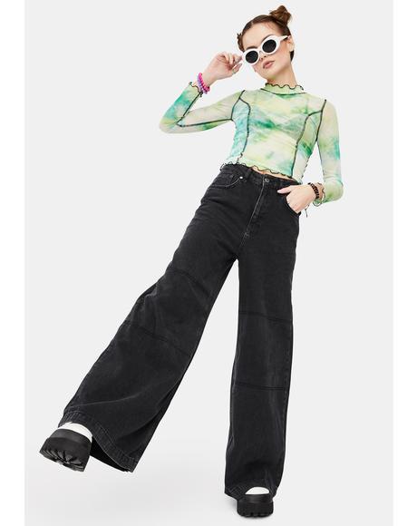 Charcoal Grueler Wide Leg Jeans
