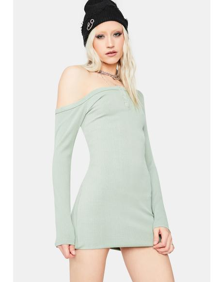 Mint Alert 'N Ready Off The Shoulder Mini Dress