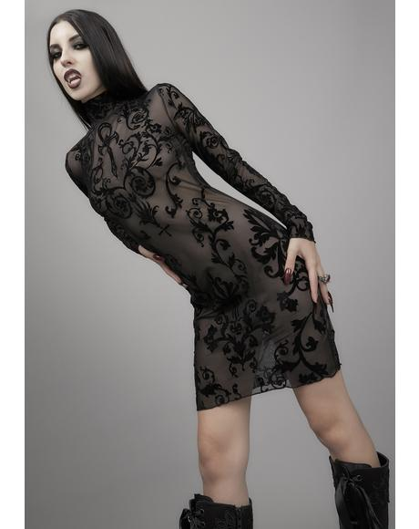 Midnight's Embrace Mesh Dress
