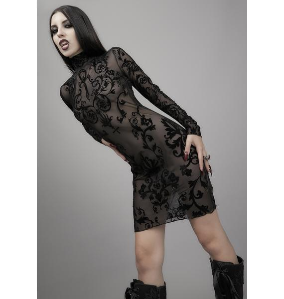 Widow Midnight's Embrace Mesh Dress