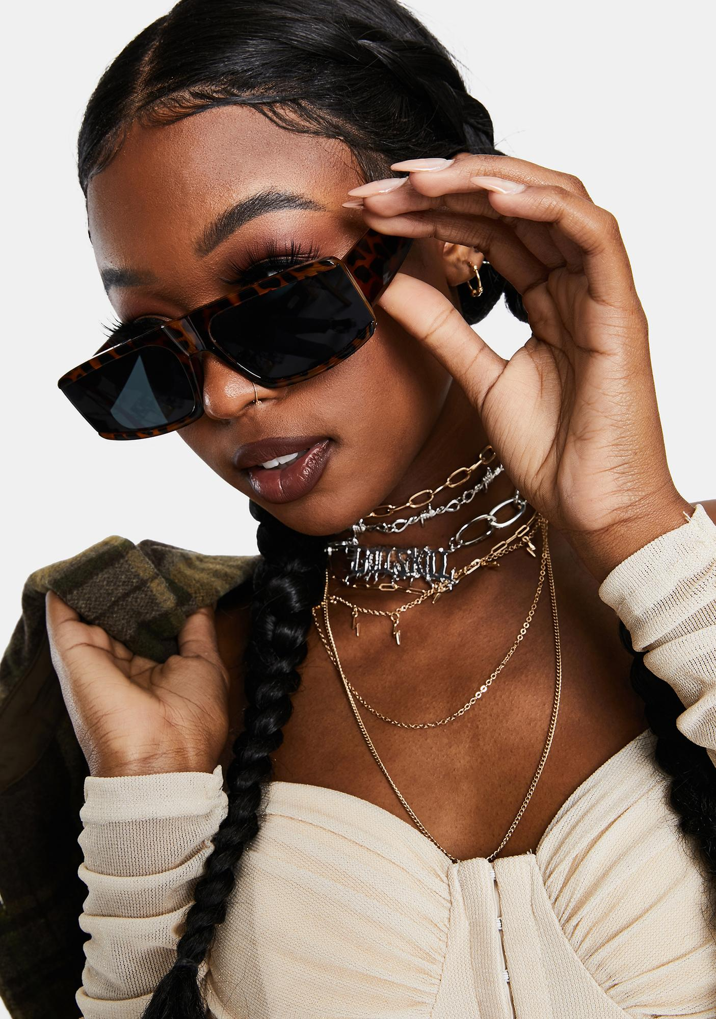 Tortoise Paparazzi Posse Oversized Rectangle Sunglasses