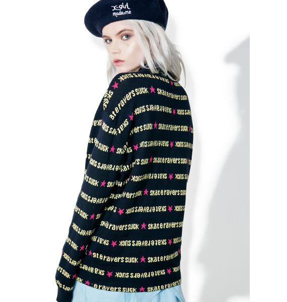 MadeMe x X-Girl Navy Turtle Neck Sweater