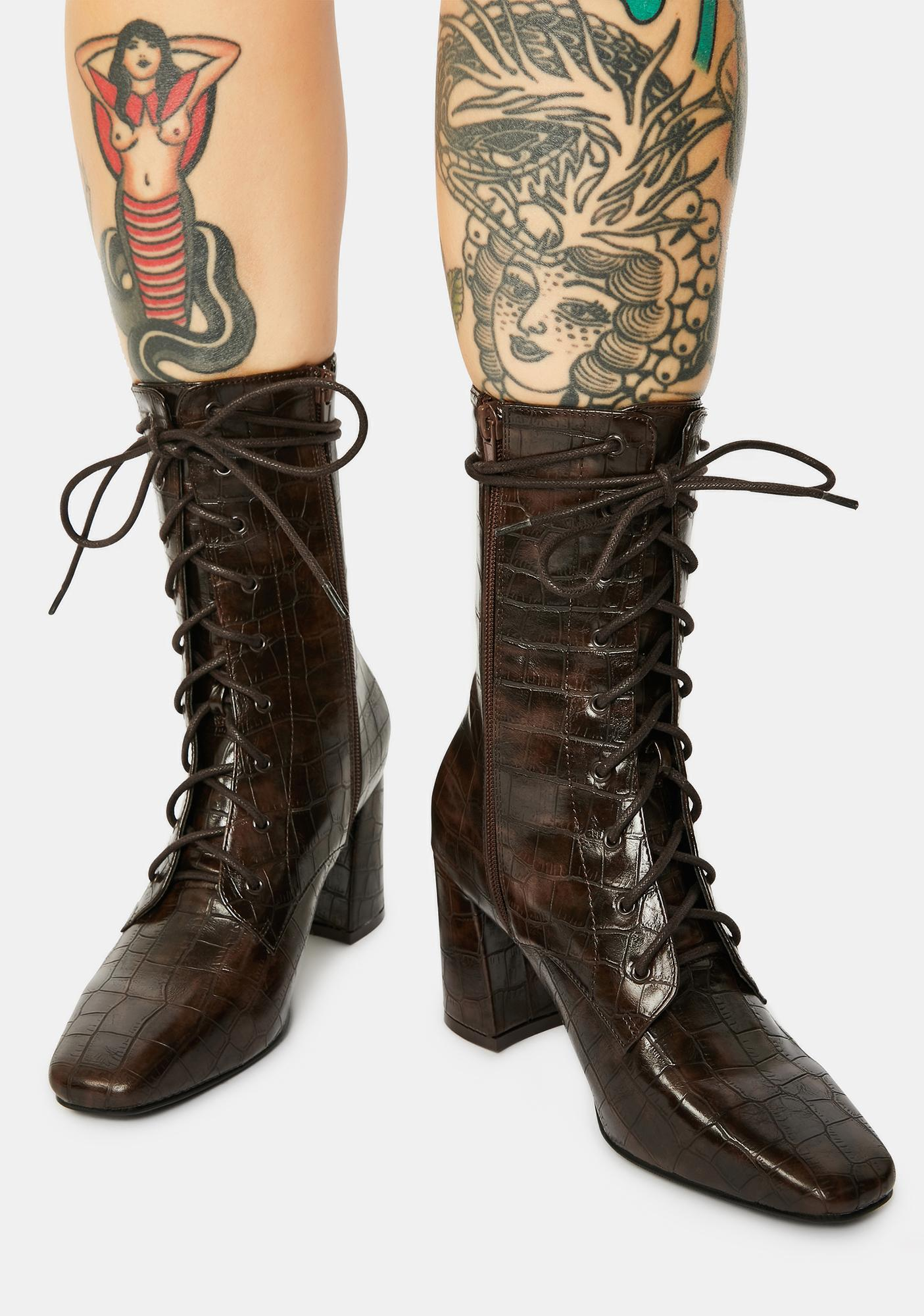 4TH & RECKLESS Avri Brown Croc Lace-Up Boots