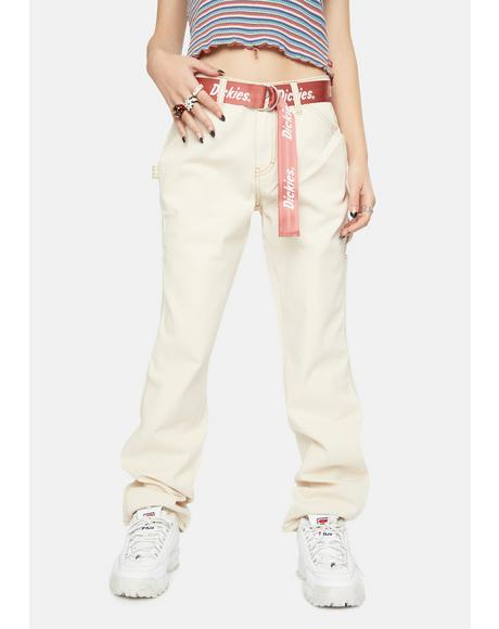 Natural Carpenter Pants With Logo Belt