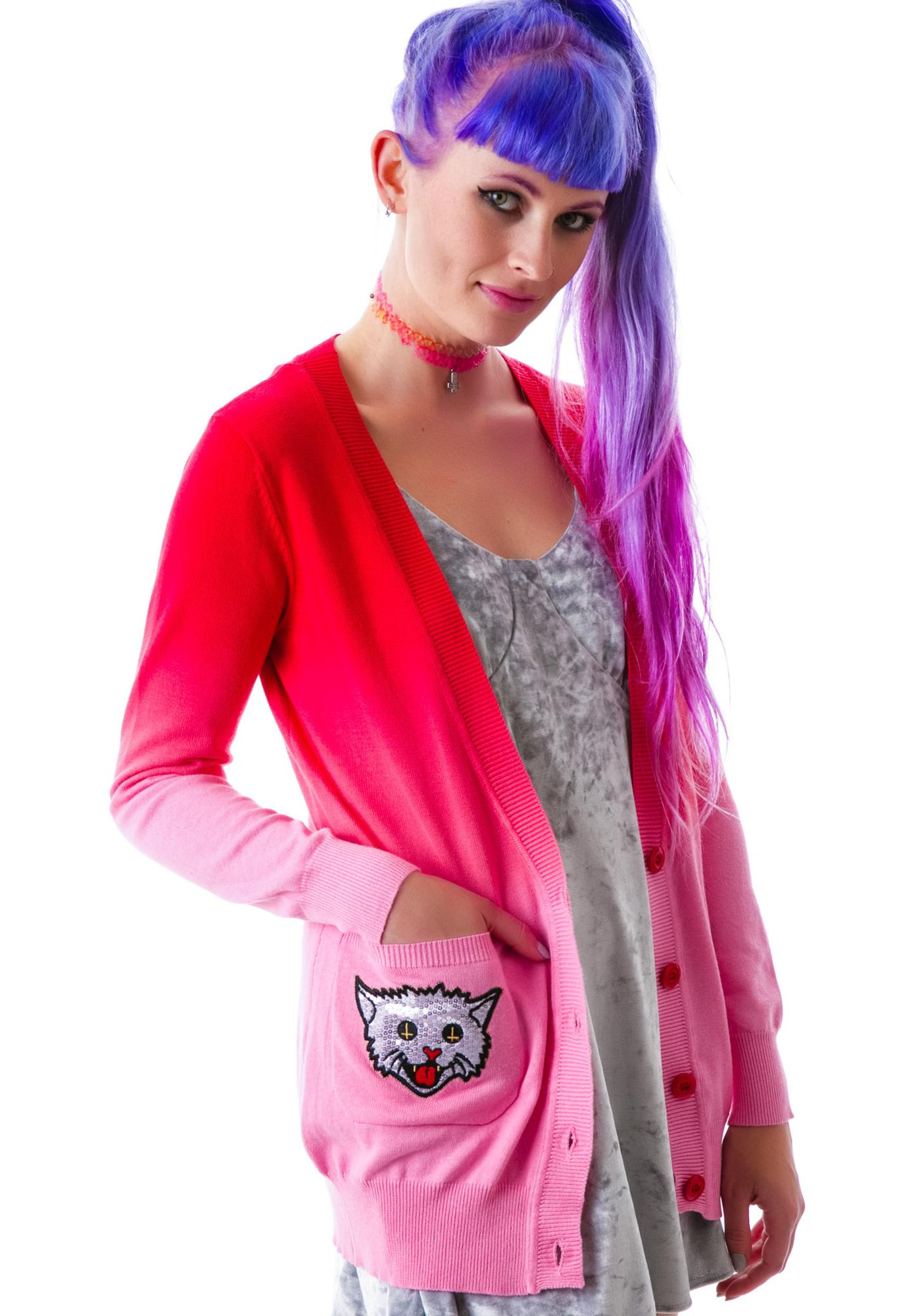 Too Fast Kitty Rocks Dare Patch Elbow Cardigan