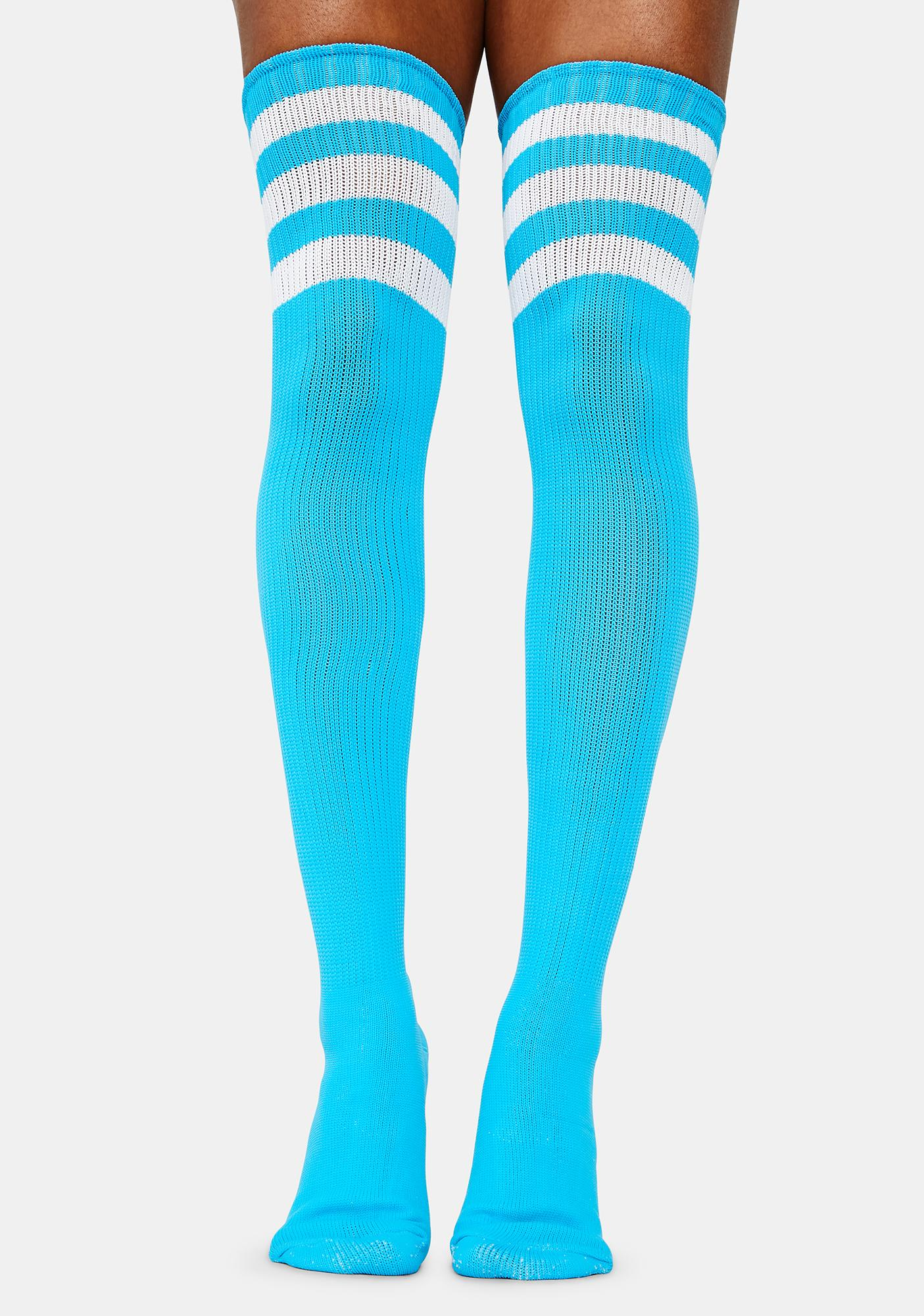 Cyan Rack 'Em Up Athletic Thigh Highs