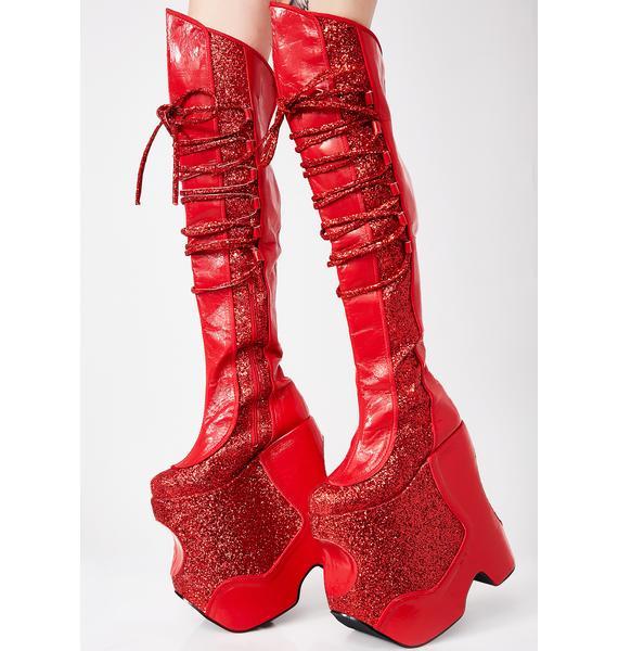 Pleaser Scarlet Devious Fabulous Platform Boots