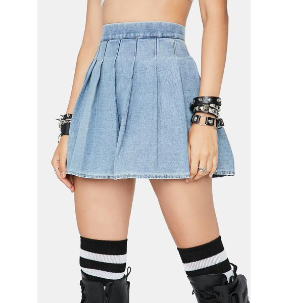 Daring Denim Pleated Skirt