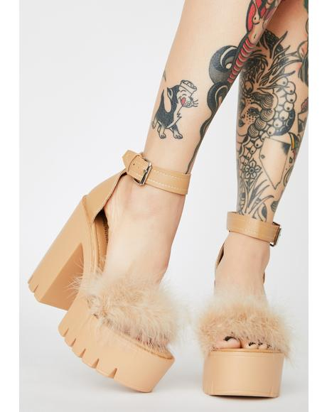 Latte Just Say So Marabou Heels