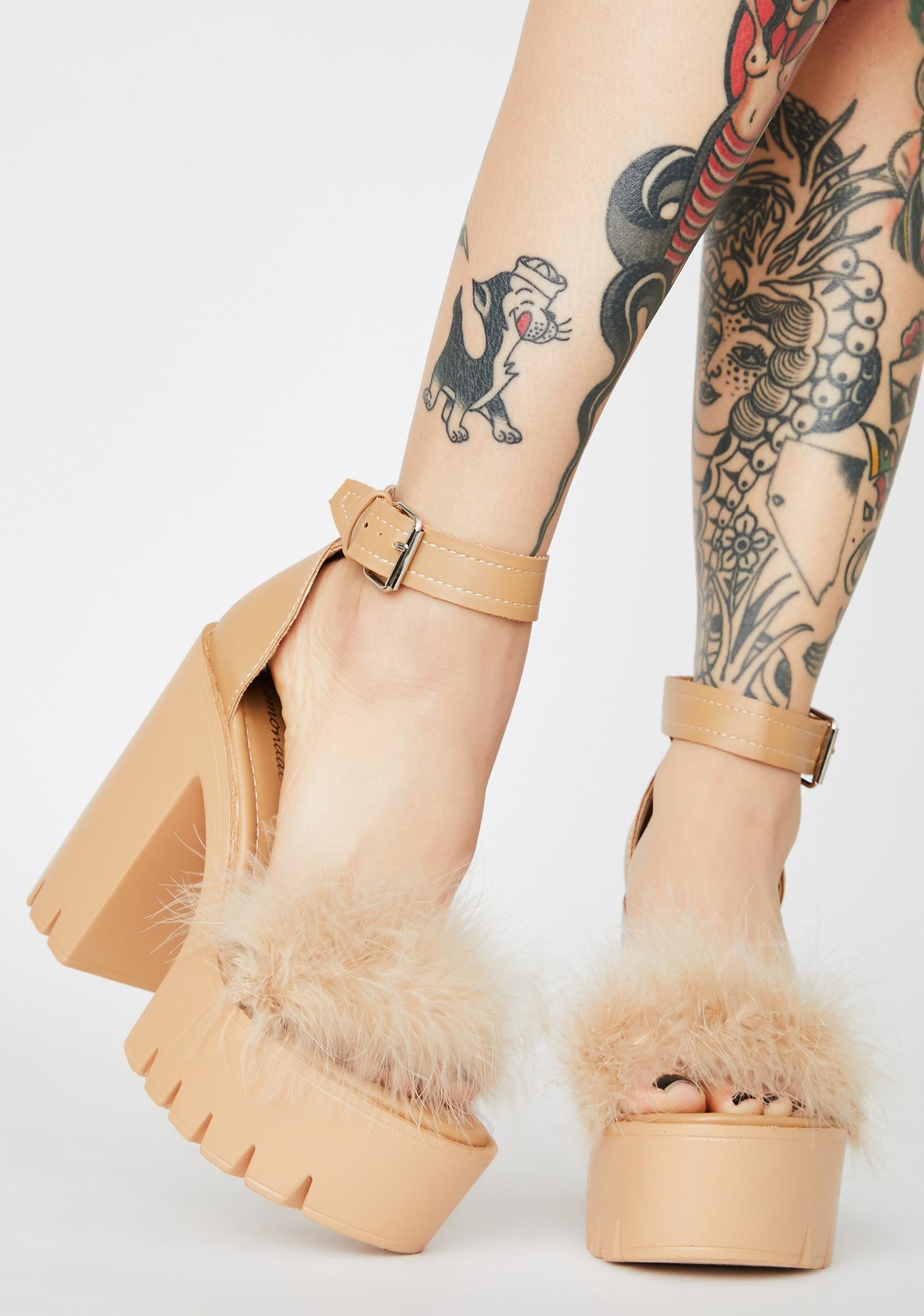 Latte Just Say So Marabou Heels