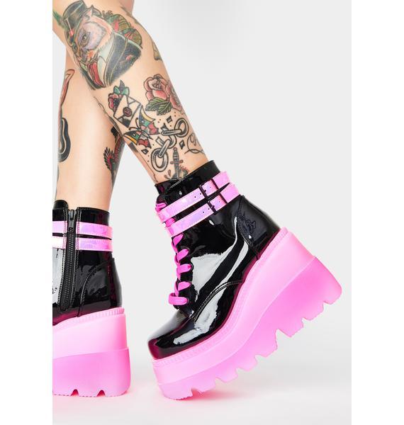 Demonia Pink UV Patent Technopagan Boots