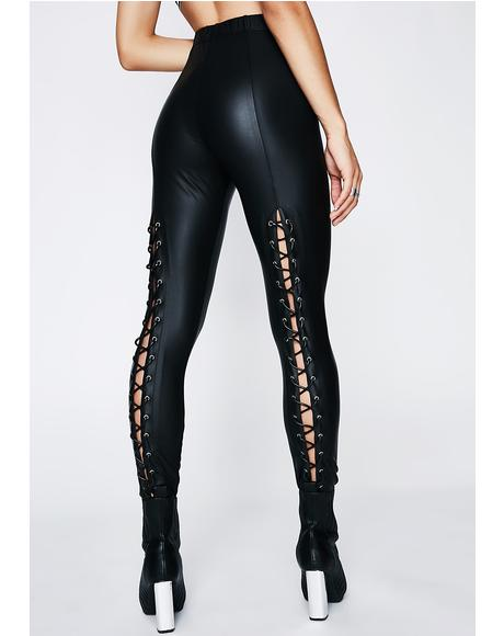 Back Off Lace-Up Leggings