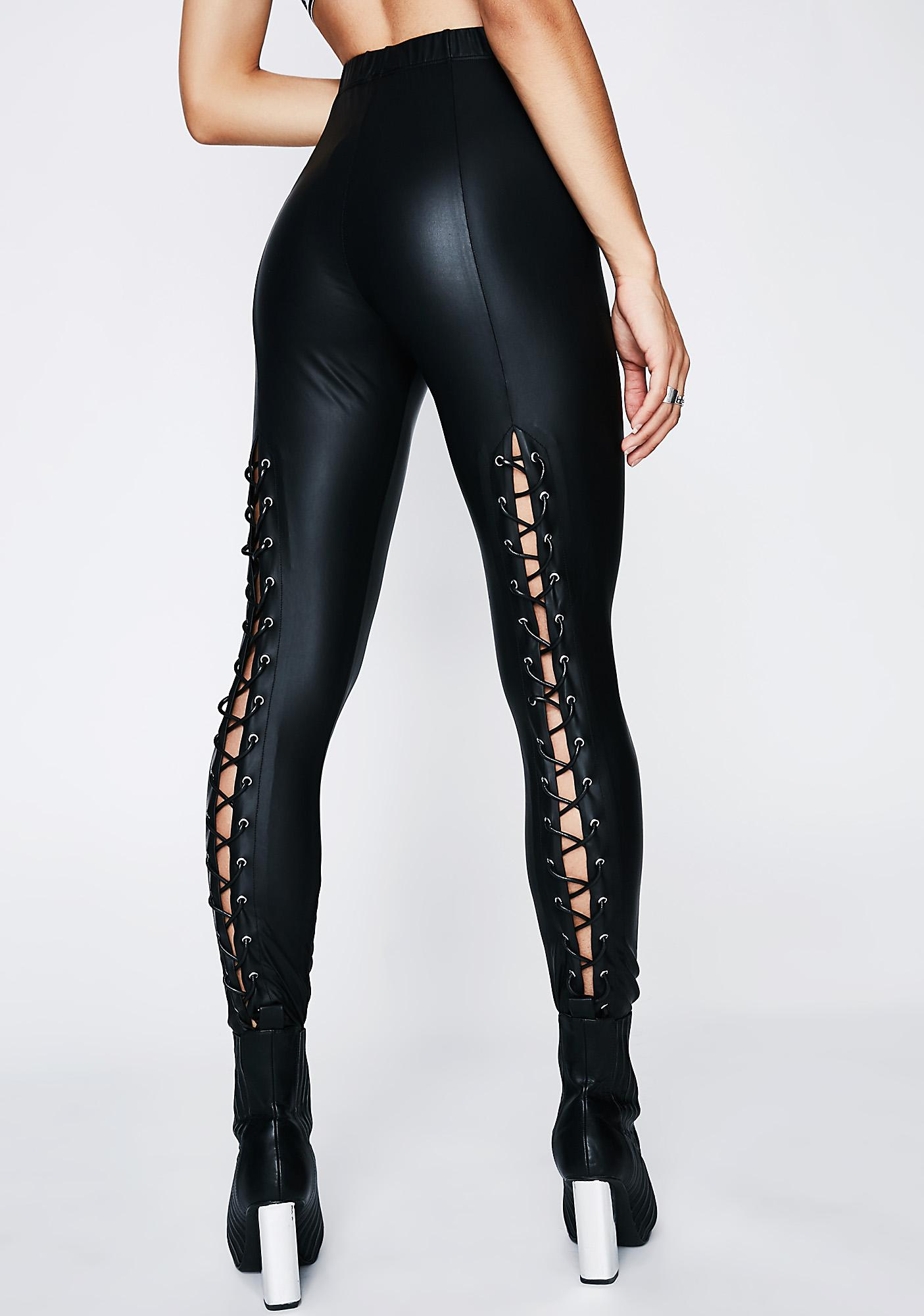 Very Poster Grl Back Off Lace-Up Leggings | Dolls Kill KU38