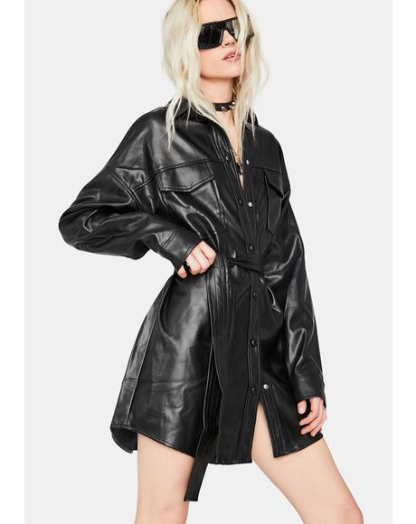 Midnight Girl Vegan Leather Shirt Dress