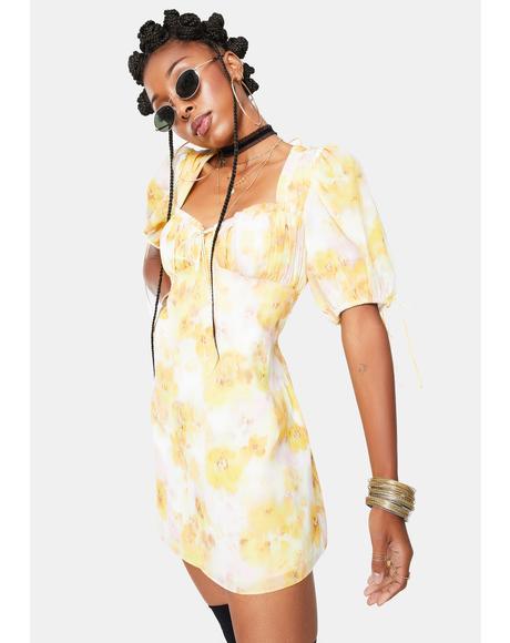Yellow Zinna Mini Dress
