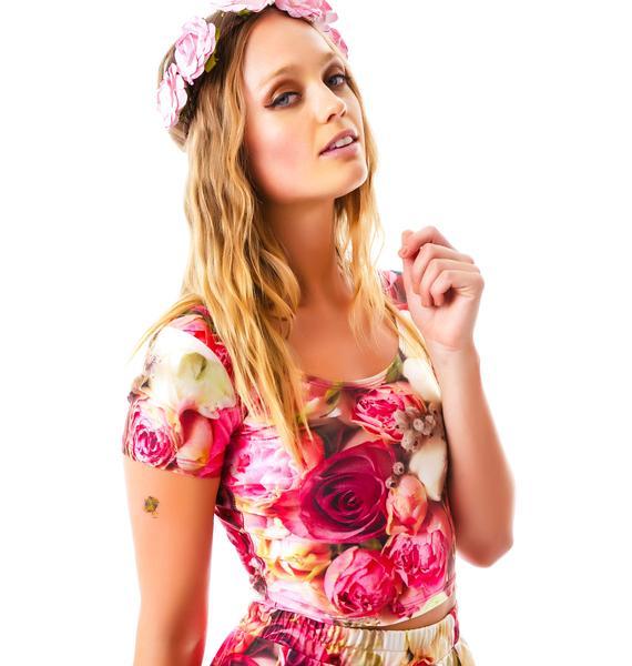 Zara Terez Pink Flower Patch Crop Top