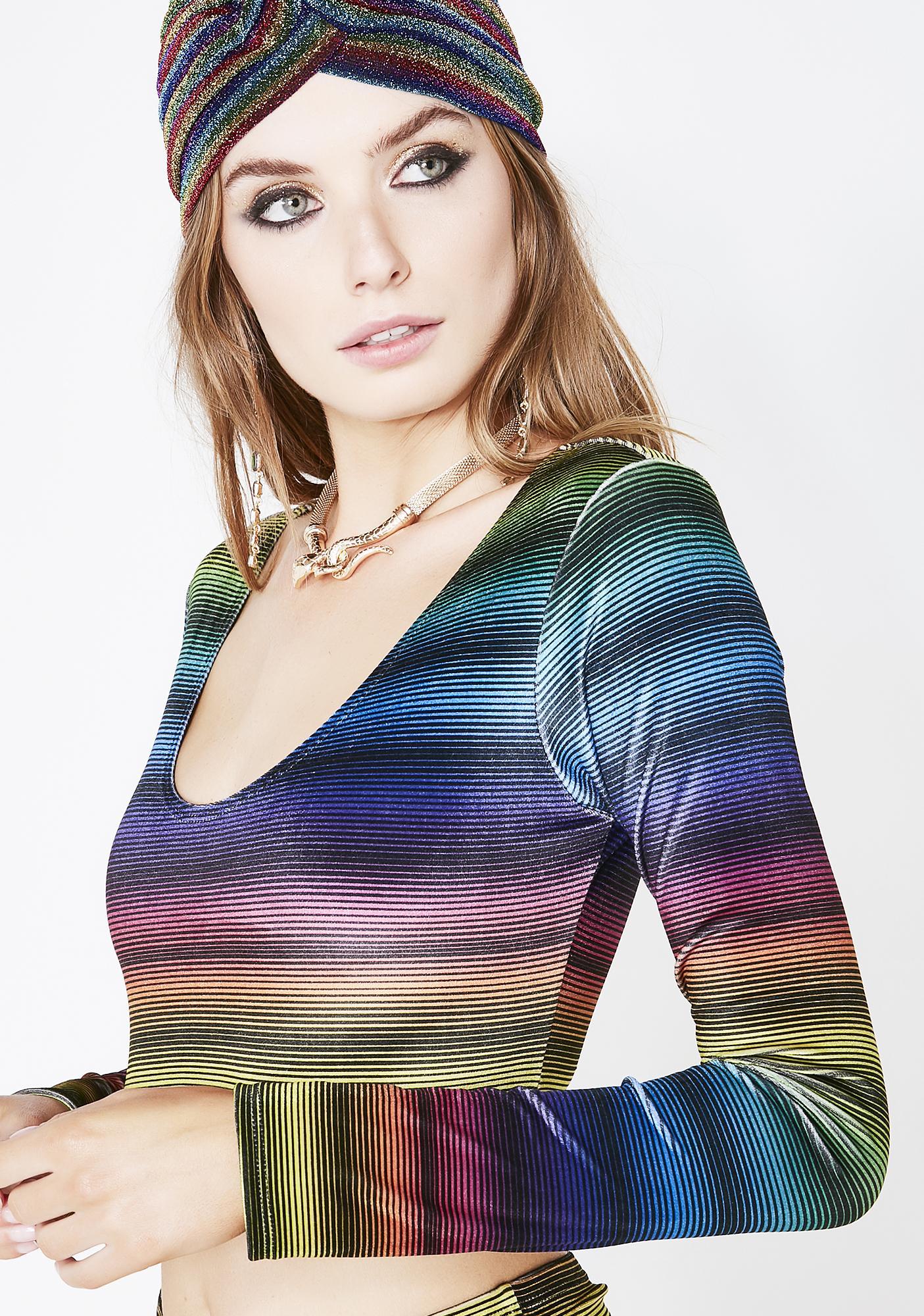 Sugarpuss Rainbow Stripe Velvet Crop Top